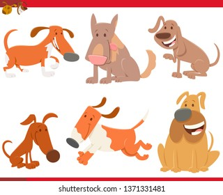 Cartoon Illustration of Cute Dogs or Puppies Pet Animal Characters Collection