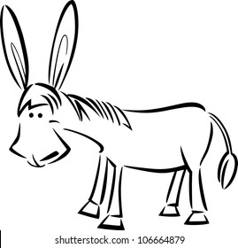 cartoon illustration of cute donkey for coloring book