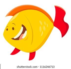Cartoon Illustration of Cute Fish Sea Animal Character