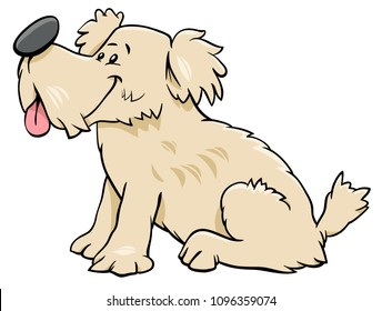 Cartoon Illustration of Cute Funny Dog or Puppy Animal Character