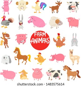 Cartoon Illustration of Cute Funny Farm Animal Characters Large Set