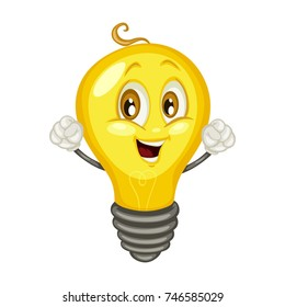 Cartoon Illustration of a Cute Happy Light Bulb Character