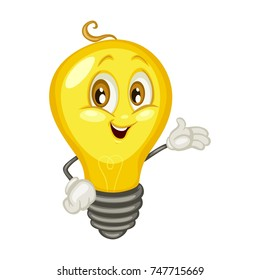 Cartoon Illustration of a Cute Happy Light Bulb Character