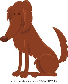 Cartoon Illustration of Cute Irish Setter Purebred Dog Animal Character