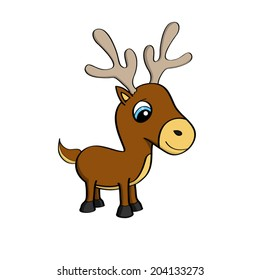 Cartoon illustration of a cute little reindeer with big blue eyes