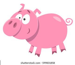Cartoon Illustration of Cute Pig Farm Animal Character