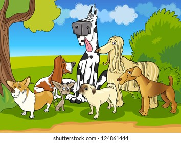 Cartoon Illustration of Cute Purebred Dogs or Puppies Group against Rural Scene with Blue Sky