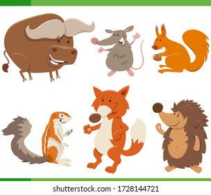 Cartoon Illustration of Cute Wild Animal Comic Characters Set