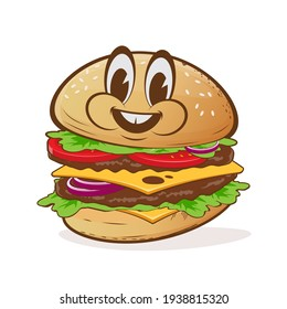 cartoon illustration of a delicious burger with happy face