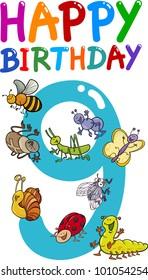 cartoon illustration design for ninth birthday anniversary