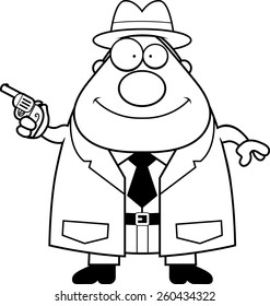 A cartoon illustration of a detective with a gun.
