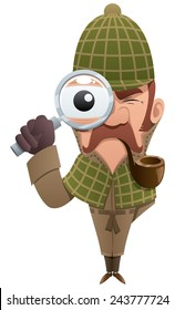 Cartoon illustration of detective, looking at you through magnifier.  No transparency used. Basic (linear) gradients.
