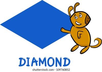 Cartoon Illustration of Diamond or Rhomb Basic Geometric Shape with Funny Dog Character for Children Education