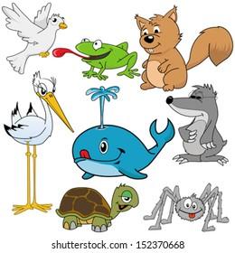 cartoon illustration of different animals