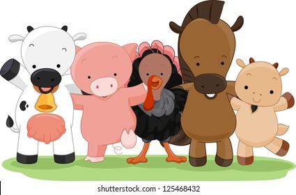 Cartoon Illustration of Different Farm Animals