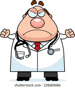 A cartoon illustration of a doctor looking angry.