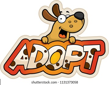 A cartoon illustration of a dog with an adopt sign.