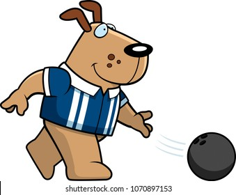 A cartoon illustration of a dog bowling a ball.