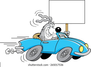 Cartoon illustration of a dog driving a car and holding a sign.