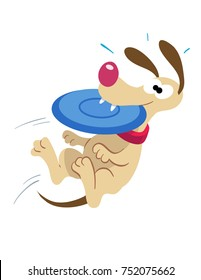 cartoon illustration of a dog jumping up to catch a flying plastic disc