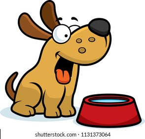 A cartoon illustration of a dog with a water bowl.