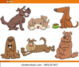 Cartoon Illustration of Dogs and Puppies Comic Animal Characters Set