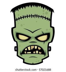 Cartoon illustration of Dr. Frankenstein's living dead zombie monster.