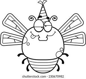 A cartoon illustration of a dragonfly with a party hat looking drunk.
