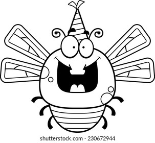 A cartoon illustration of a dragonfly with a party hat looking happy.