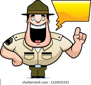 A cartoon illustration of a drill sergeant talking.