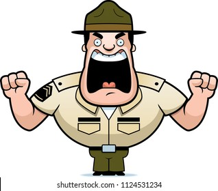 A cartoon illustration of a drill sergeant yelling and angry.