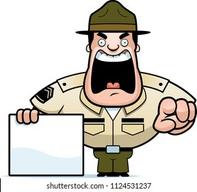 A cartoon illustration of a drill sergeant yelling and pointing with a sign.