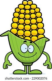 A cartoon illustration of an ear of corn looking happy.