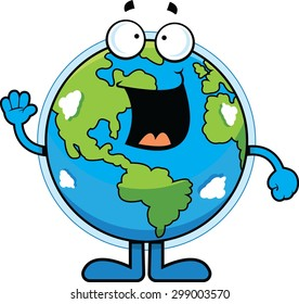 Cartoon illustration of the Earth with a happy expression.