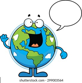 Cartoon illustration of the Earth talking with a speech bubble.