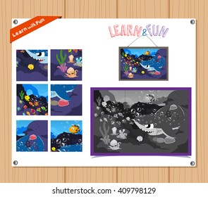 Cartoon Illustration of Education Jigsaw Puzzle Game for Preschool Children with Underwater animals