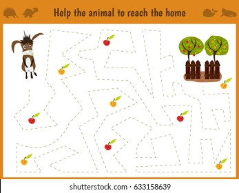 Cartoon illustration of education. Matching game for preschool kids trace the path of the donkey on the farm and on the way collect all the apples. Education and games. Learn handwriting. Vector