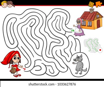 Cartoon Illustration of Education Maze or Labyrinth Activity Game for Children with Little Red Riding Hood