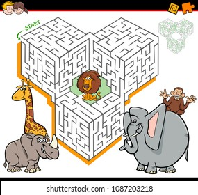 Cartoon Illustration of Education Maze or Labyrinth Activity Game for Children with Safari Animals