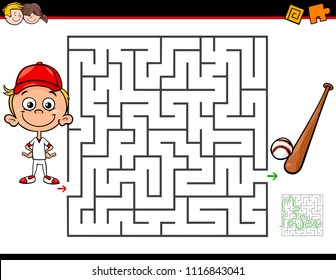 Cartoon Illustration of Education Maze or Labyrinth Activity Game for Children with Little Boy and Baseball