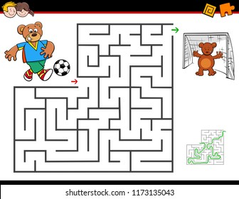 Cartoon Illustration of Education Maze or Labyrinth Activity Game for Children with Bear Playing Soccer