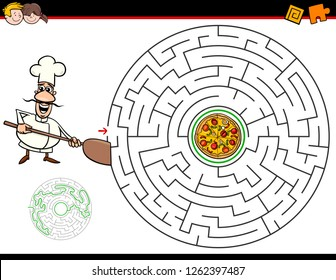 Cartoon Illustration of Education Maze or Labyrinth Activity Game for Children with Chef and Pizza