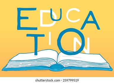 Cartoon illustration of education word over an open book