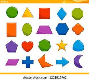 Cartoon Illustration of Educational Basic Geometric Shapes for Elementary Age Children