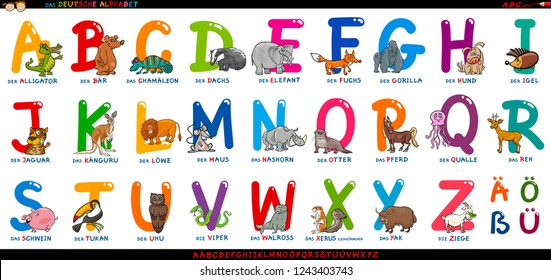 Cartoon Illustration of Educational Colorful German or Deutsch Alphabet Set with Funny Animals
