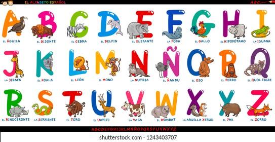 Cartoon Illustration of Educational Colorful Spanish Alphabet or Alfabeto Espanol Set with Funny Animals