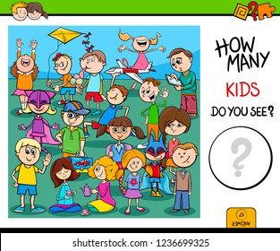 Cartoon Illustration of Educational Counting Activity Task with Kid Characters