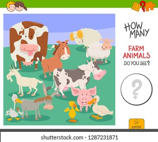 Cartoon Illustration of Educational Counting Activity Game for Preschool Children with Farm Animal Characters