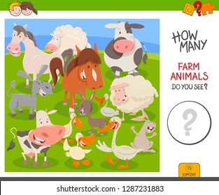 Cartoon Illustration of Educational Counting Activity Game for Children with Cute Farm Animal Characters