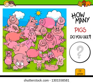 Cartoon Illustration of Educational Counting Activity Game with Pigs Farm Animal Characters